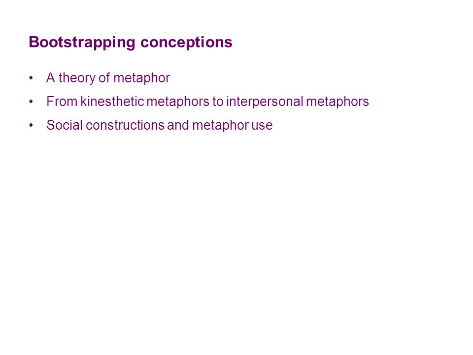 Bootstrapping conceptions A theory of metaphor From kinesthetic metaphors to interpersonal metaphors Social constructions and metaphor use