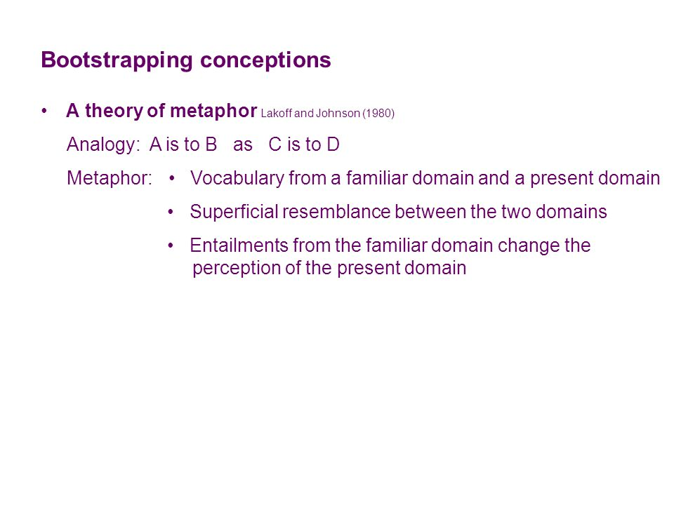 Bootstrapping conceptions A theory of metaphor Lakoff and Johnson (1980) Analogy: A is to B as C is to D Metaphor: Vocabulary from a familiar domain and a present domain Superficial resemblance between the two domains Entailments from the familiar domain change the perception of the present domain