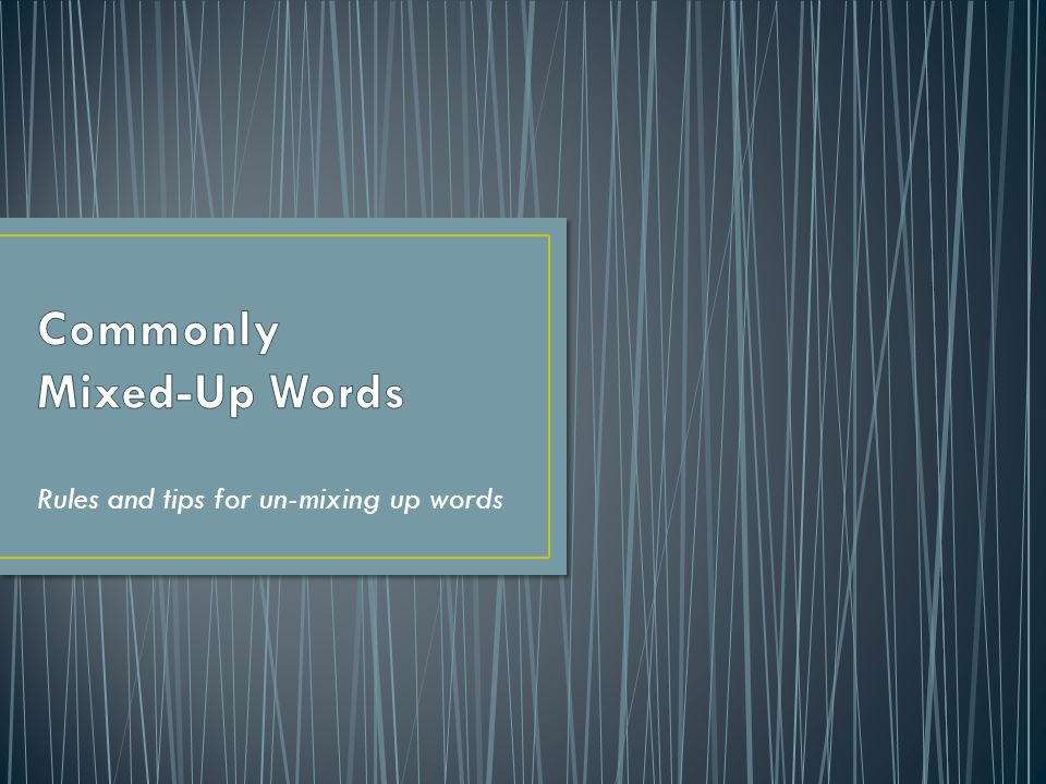 Rules and tips for un-mixing up words