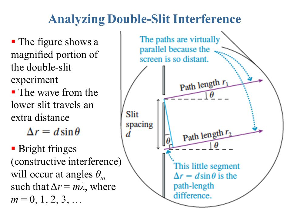 Analyzing Double-Slit Interference  The figure shows a magnified portion of the double-slit experiment  The wave from the lower slit travels an extr