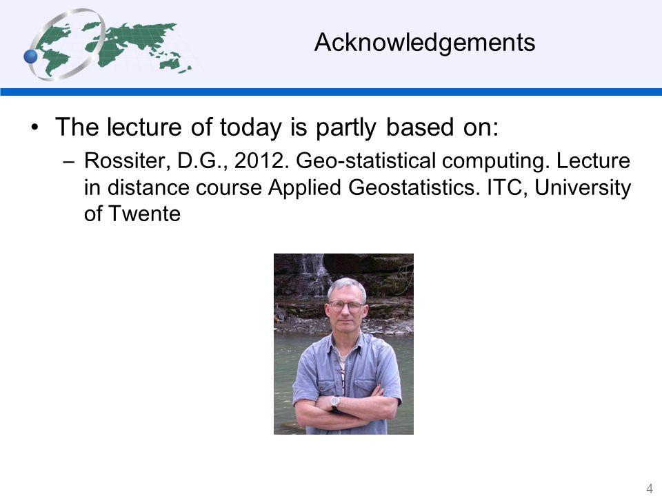4 Geostatistical computing Why geostatistical computing? Geostatistical computing programs 35