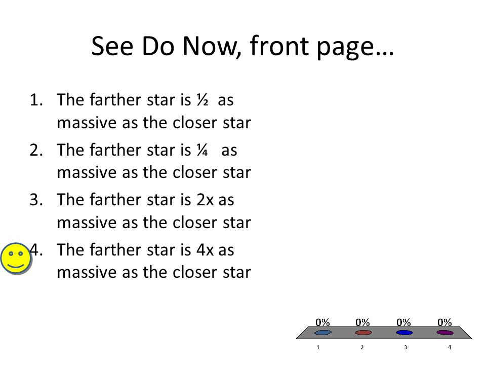 See Do Now, front page… 1.The farther star is ½ as massive as the closer star 2.The farther star is ¼ as massive as the closer star 3.The farther star is 2x as massive as the closer star 4.The farther star is 4x as massive as the closer star