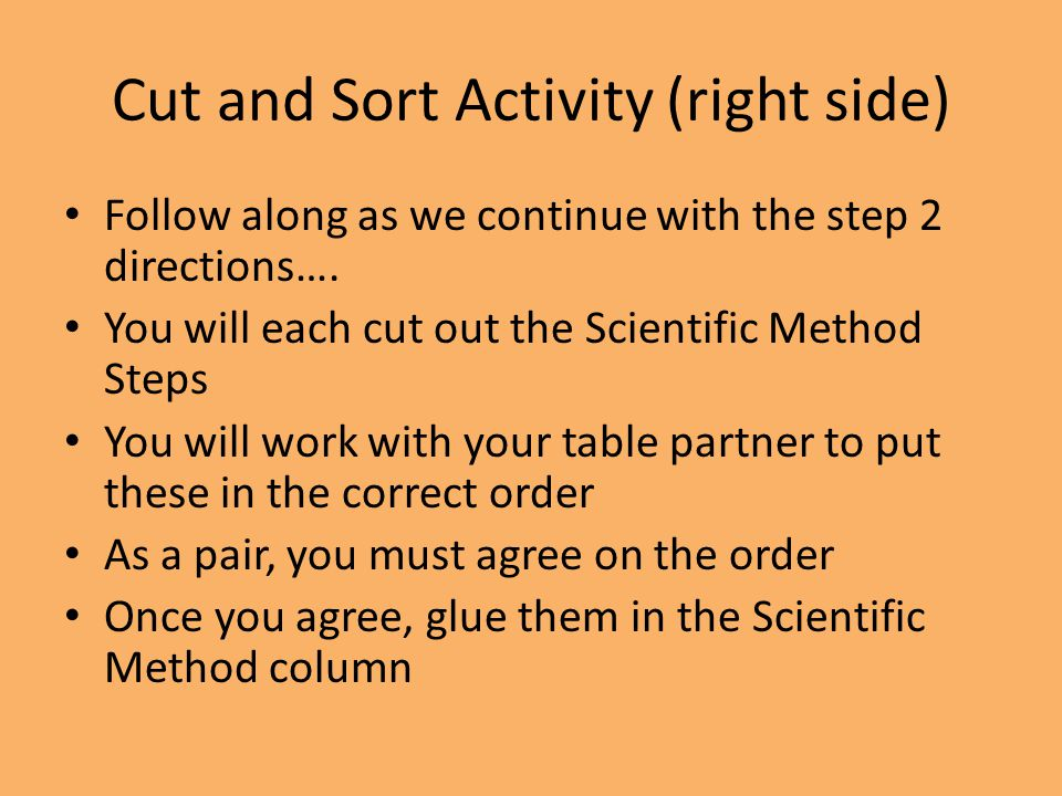 Cut and Sort Activity (right side) Follow along as we continue with the step 2 directions…. You will each cut out the Scientific Method Steps You will