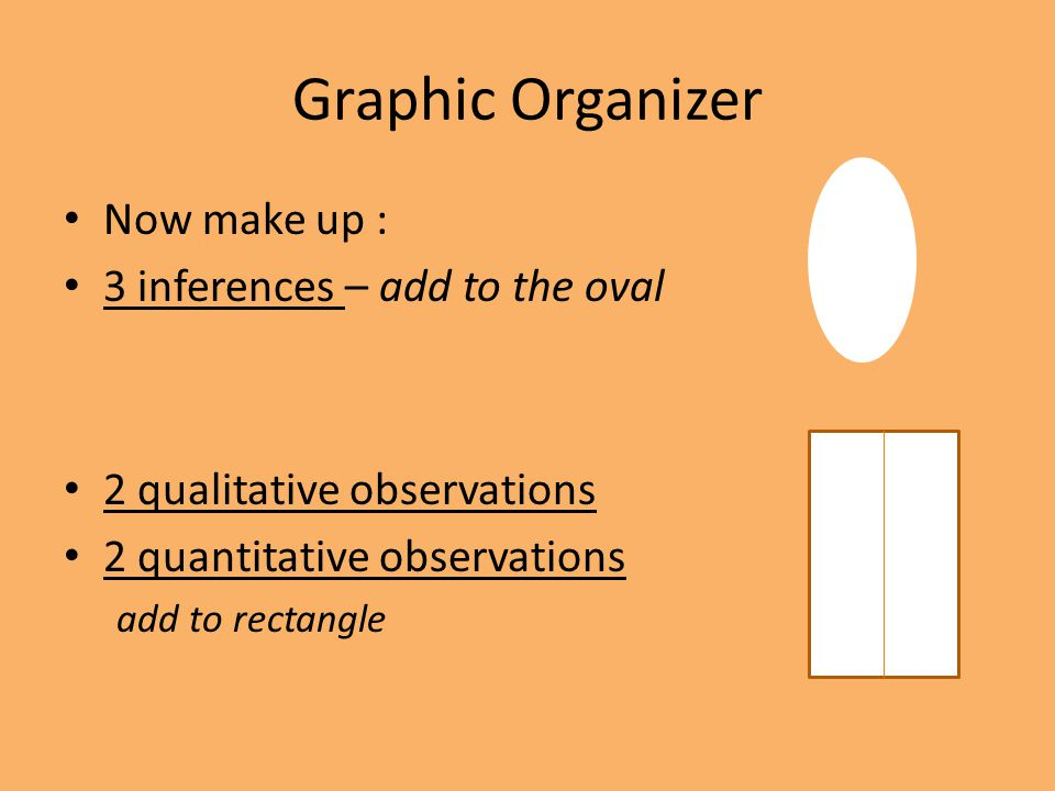 Graphic Organizer Now make up : 3 inferences – add to the oval 2 qualitative observations 2 quantitative observations add to rectangle