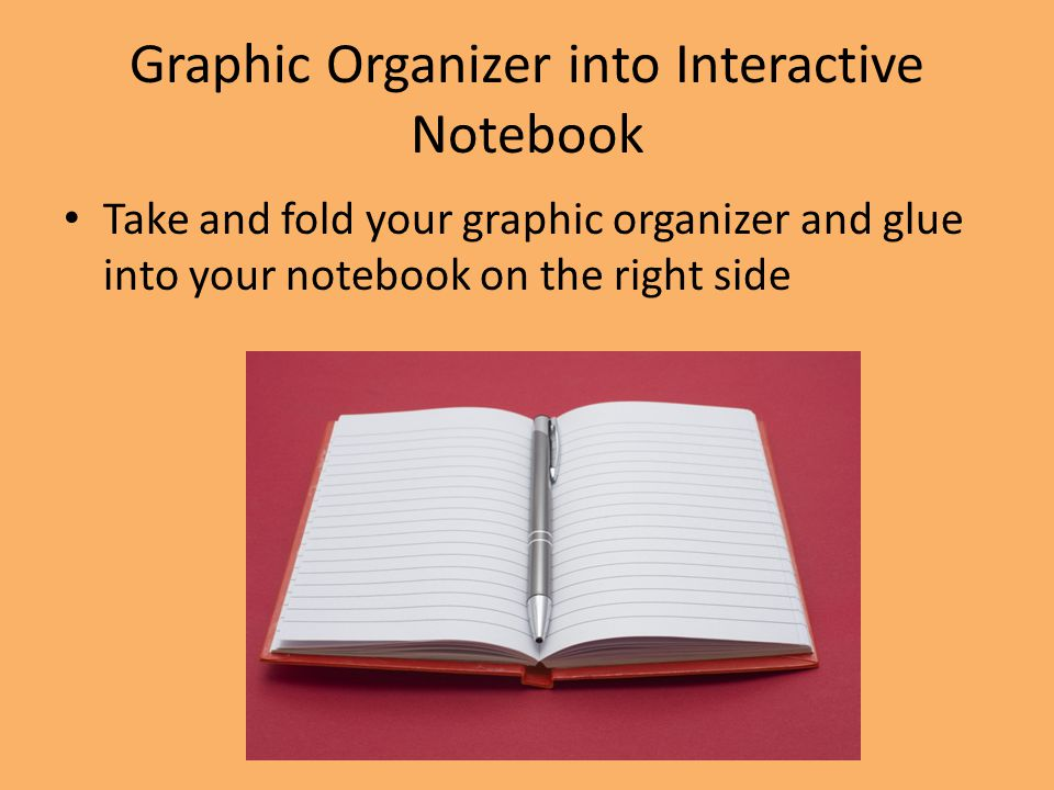 Graphic Organizer into Interactive Notebook Take and fold your graphic organizer and glue into your notebook on the right side