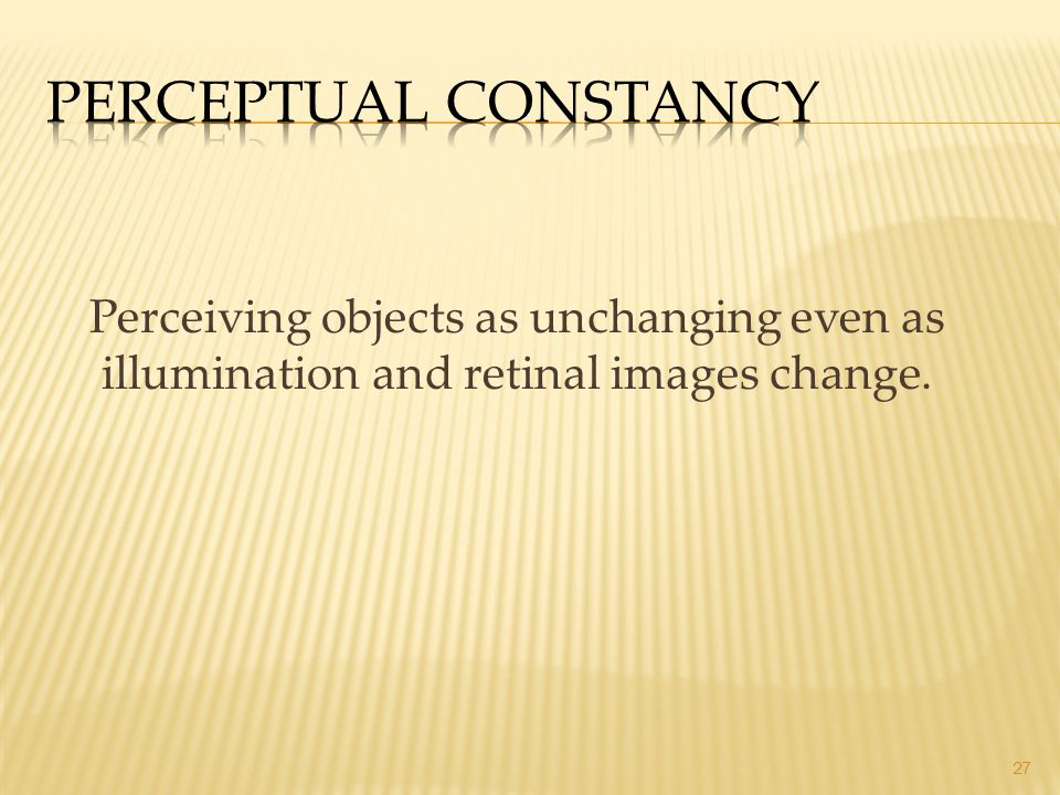 27 Perceiving objects as unchanging even as illumination and retinal images change.