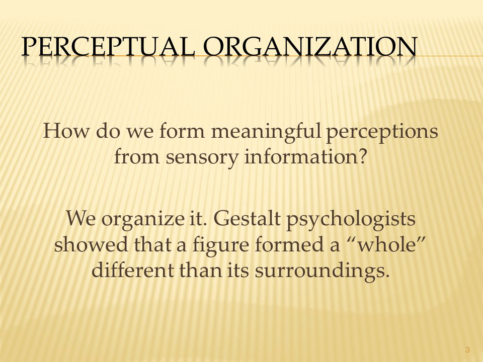 """3 How do we form meaningful perceptions from sensory information? We organize it. Gestalt psychologists showed that a figure formed a """"whole"""" differen"""