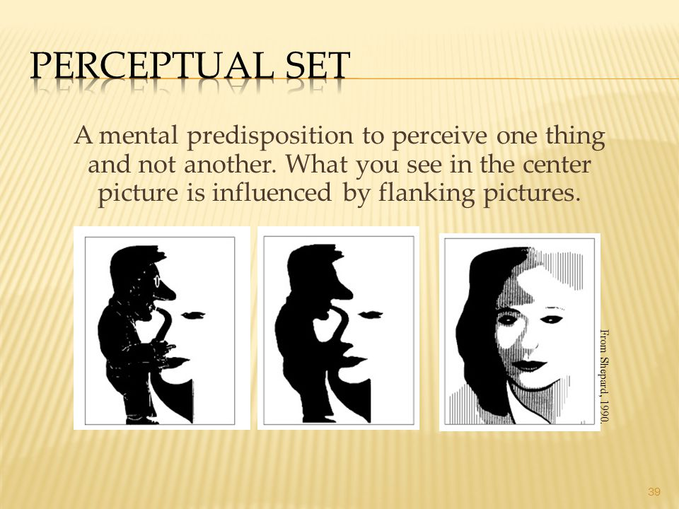 39 A mental predisposition to perceive one thing and not another. What you see in the center picture is influenced by flanking pictures. From Shepard,