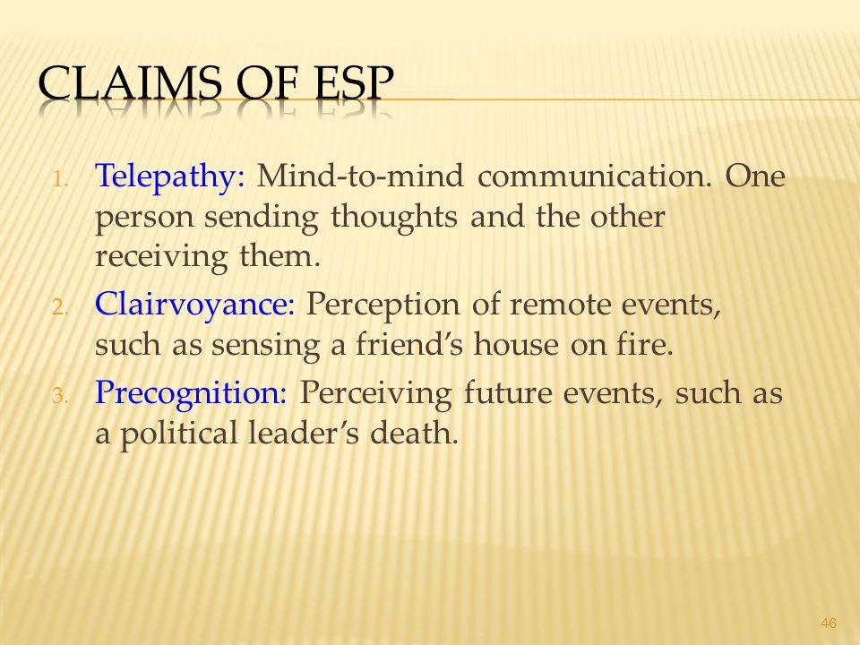 46 1. Telepathy: Mind-to-mind communication.
