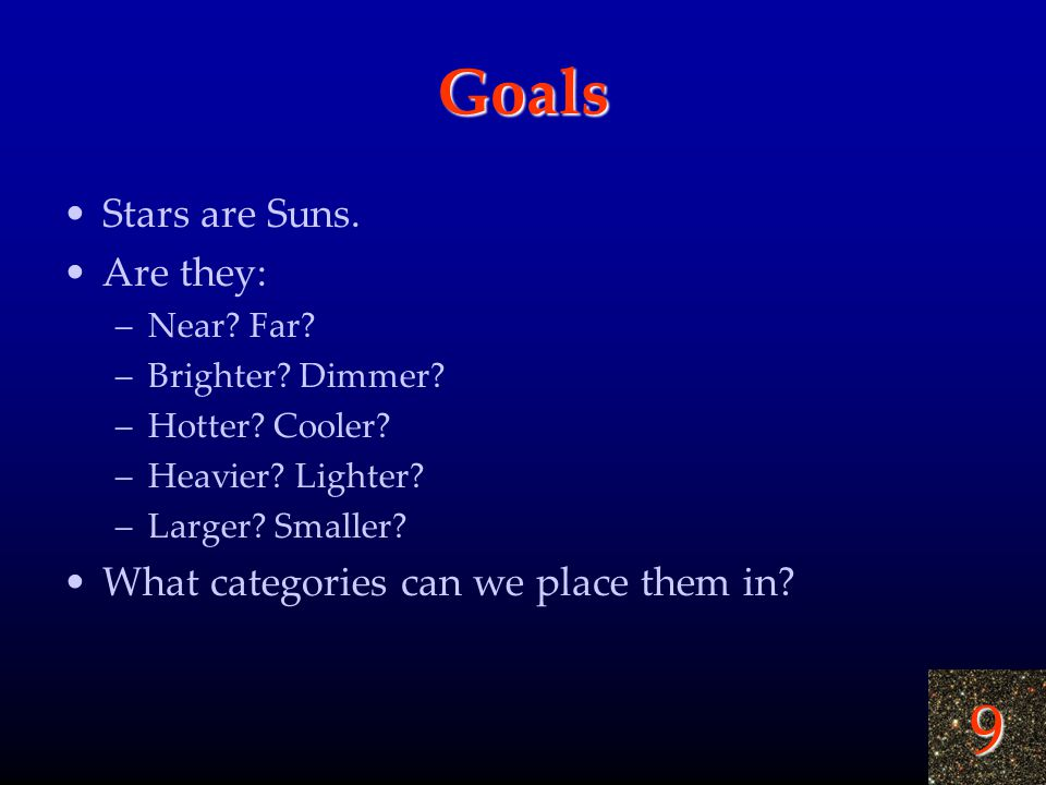 9 Goals Stars are Suns. Are they: –Near? Far? –Brighter? Dimmer? –Hotter? Cooler? –Heavier? Lighter? –Larger? Smaller? What categories can we place th