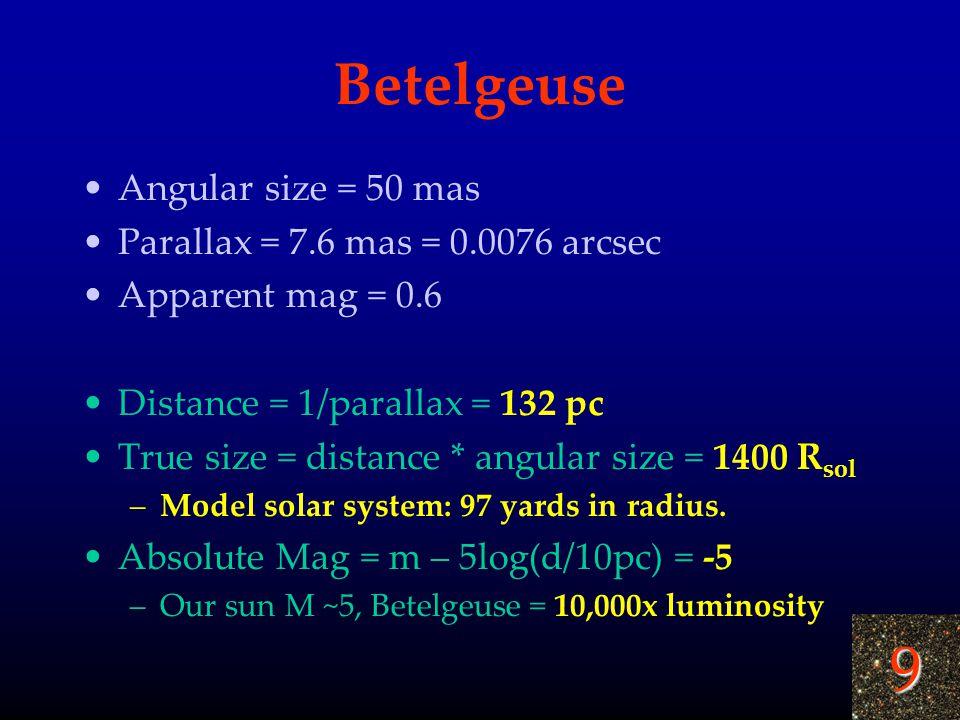 9 Betelgeuse Angular size = 50 mas Parallax = 7.6 mas = 0.0076 arcsec Apparent mag = 0.6 Distance = 1/parallax = 132 pc True size = distance * angular