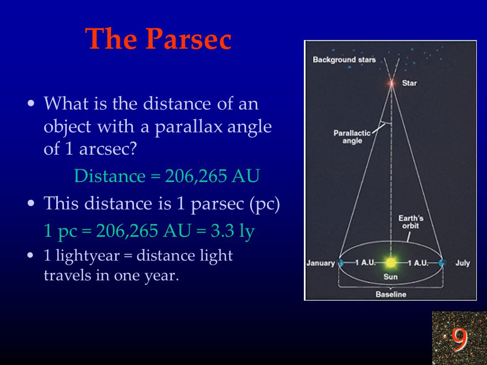 9 The Parsec What is the distance of an object with a parallax angle of 1 arcsec? Distance = 206,265 AU This distance is 1 parsec (pc) 1 pc = 206,265