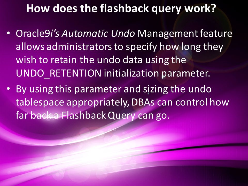 How does the flashback query work.