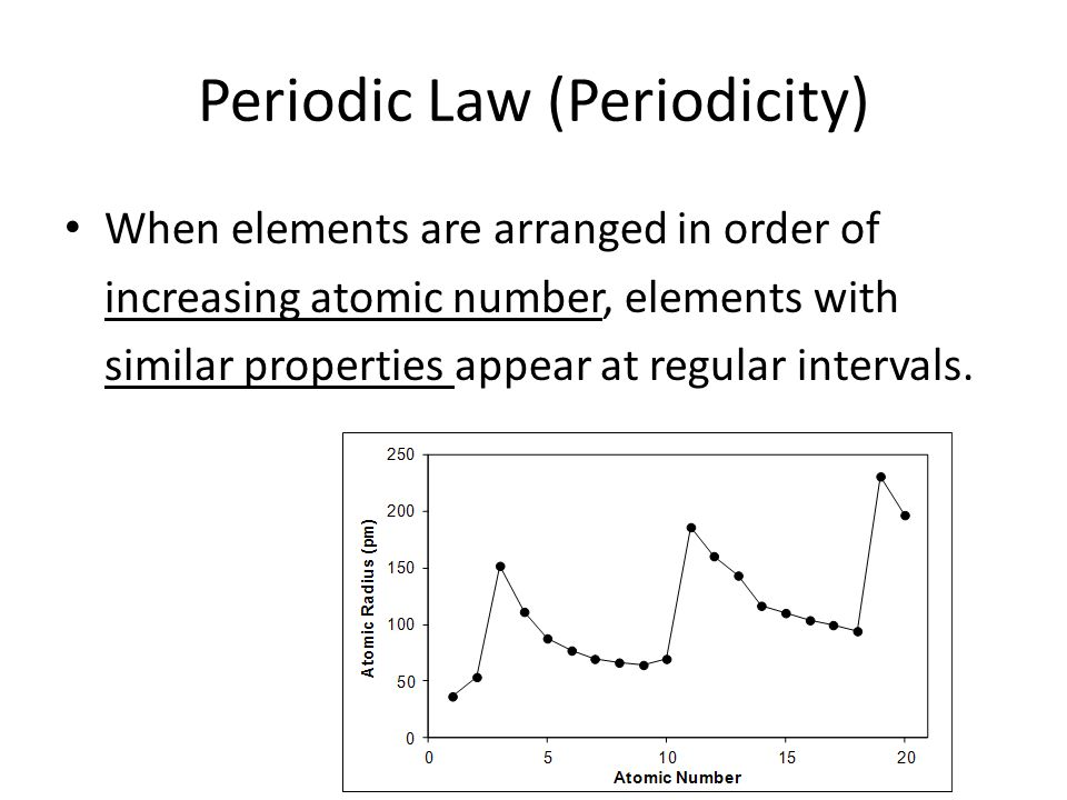 Periodic Law (Periodicity) When elements are arranged in order of increasing atomic number, elements with similar properties appear at regular interva