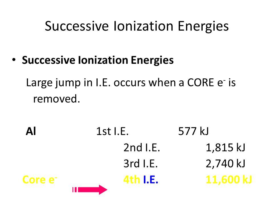 Al1st I.E.577 kJ 2nd I.E.1,815 kJ 3rd I.E.2,740 kJ Core e - 4th I.E.11,600 kJ Successive Ionization Energies Large jump in I.E. occurs when a CORE e -
