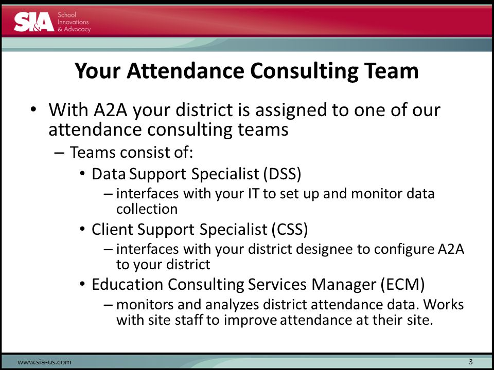 Your Attendance Consulting Team With A2A your district is assigned to one of our attendance consulting teams – Teams consist of: Data Support Specialist (DSS) – interfaces with your IT to set up and monitor data collection Client Support Specialist (CSS) – interfaces with your district designee to configure A2A to your district Education Consulting Services Manager (ECM) – monitors and analyzes district attendance data.