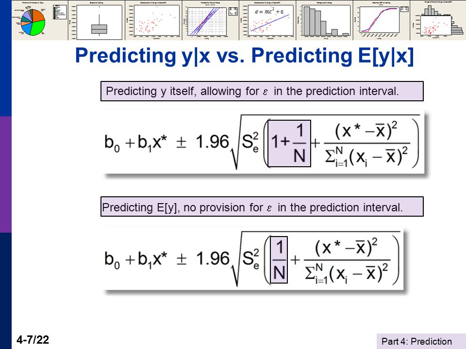 Part 4: Prediction 4-7/22 Predicting y|x vs. Predicting E[y|x] Predicting y itself, allowing for  in the prediction interval. Predicting E[y], no pro