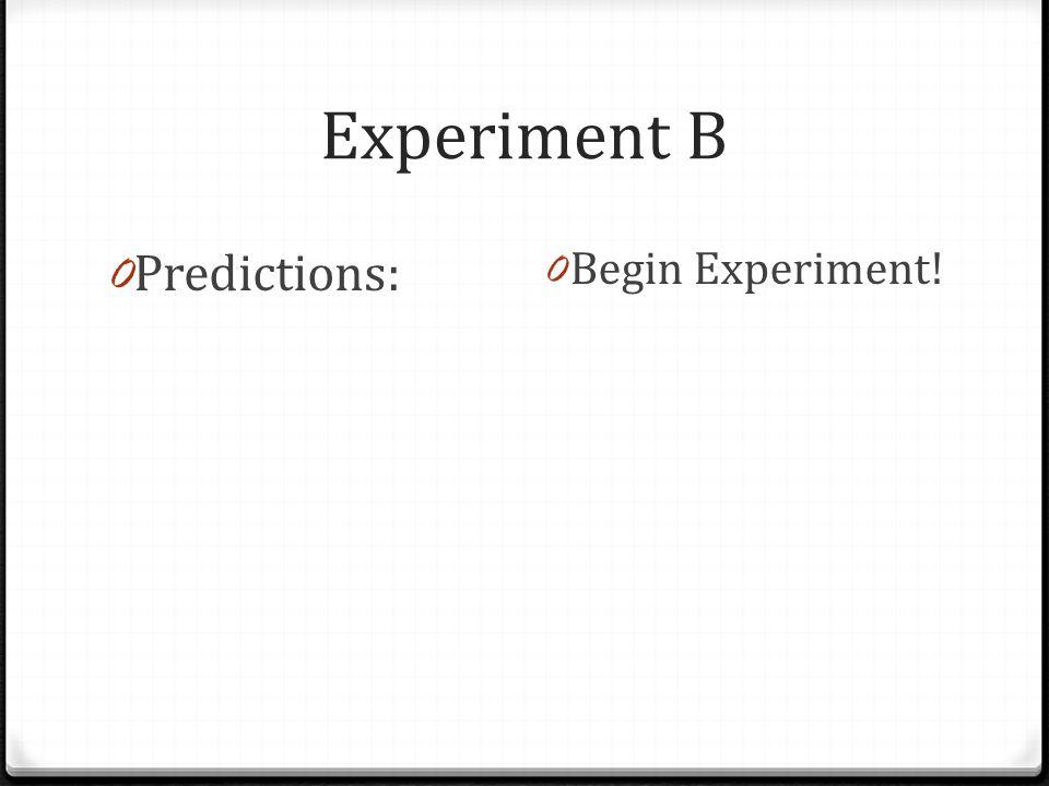 Experiment B 0 Predictions: 0 Begin Experiment!