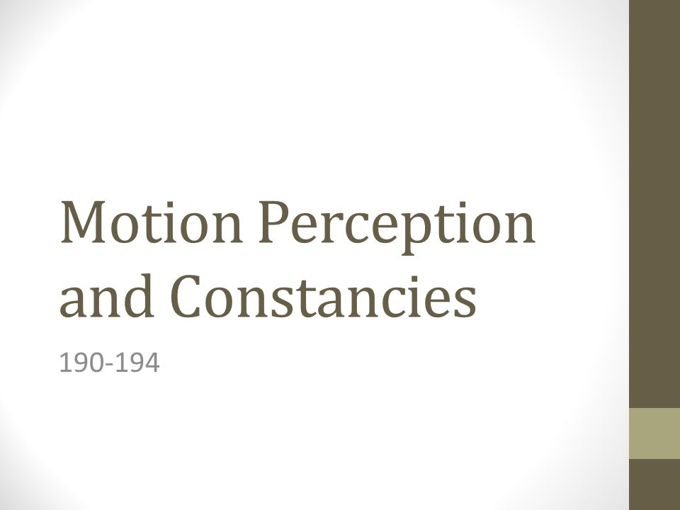 Motion Perception and Constancies 190-194