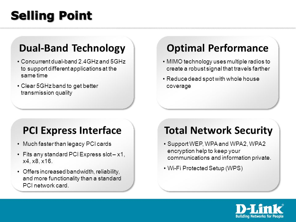 Dual-band Technology More and more consumer electronic products support dual- concurrent 2.4 and 5 GHz, the 2.4 GHz band for data applications and 5 GHz for multimedia  BENEFITS OF DUAL-BAND  2.4 GHz is a narrow, relatively crowded band for data functions and 5 GHz is a wide, clean band for better video streaming and gaming  Dual-band network for enhanced multi-device support  Multiple radios per band to create robust signals for great speed and range  Offers optimal performance when connected to Wireless A/B/G/N networks  Great for environment where network interference and household devices is likely