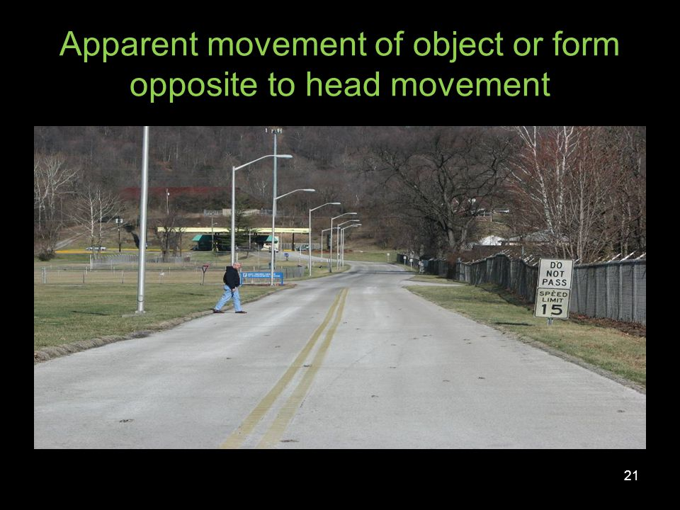 Apparent movement of object or form opposite to head movement 22