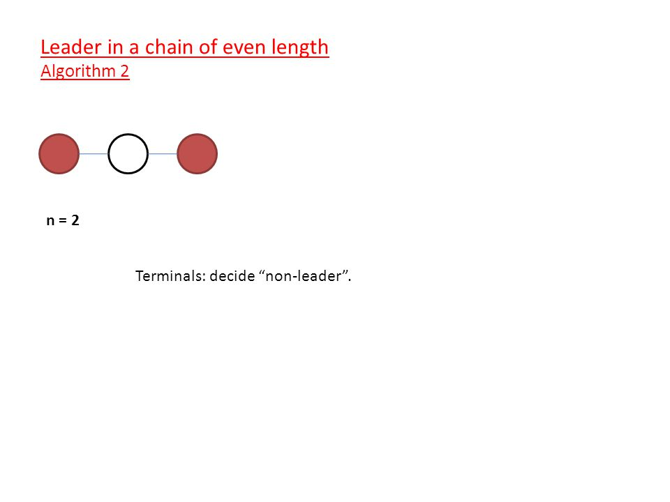 n = 2 Terminals: decide non-leader . Leader in a chain of even length Algorithm 2
