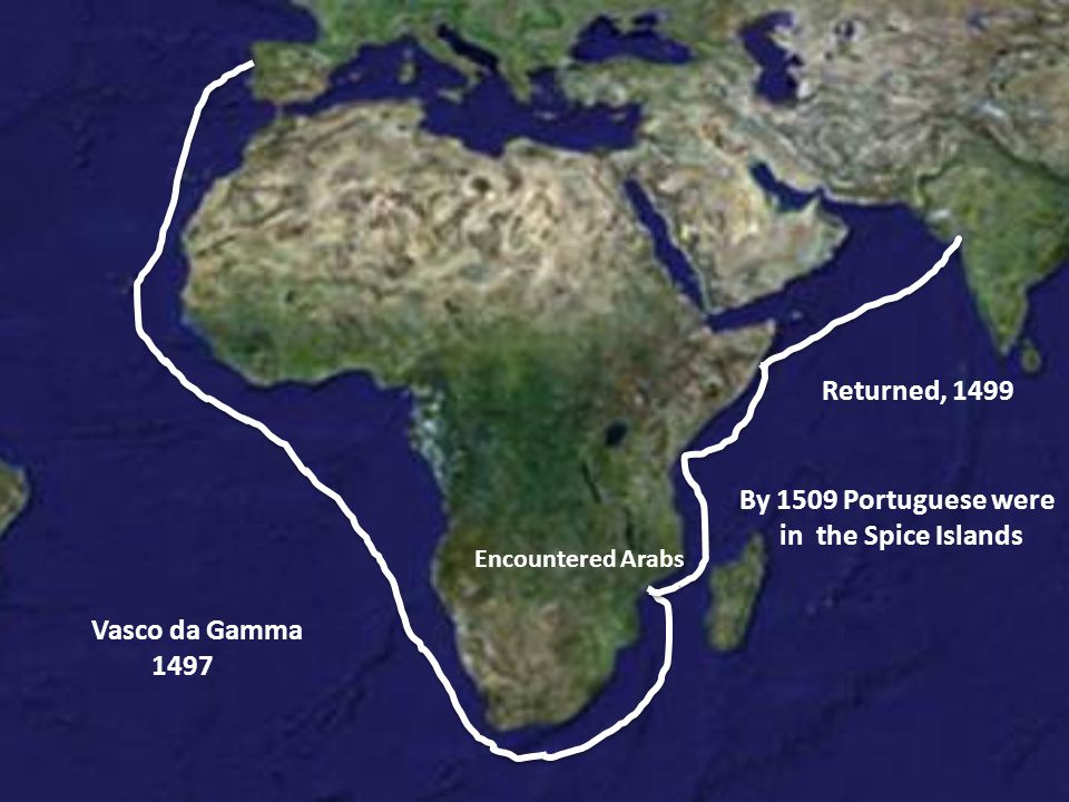 Vasco da Gamma 1497 Encountered Arabs Returned, 1499 By 1509 Portuguese were in the Spice Islands