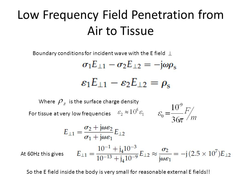 Low Frequency Field Penetration from Air to Tissue Boundary conditions for incident wave with the E field Where is the surface charge density For tissue at very low frequencies At 60Hz this gives So the E field inside the body is very small for reasonable external E fields!!