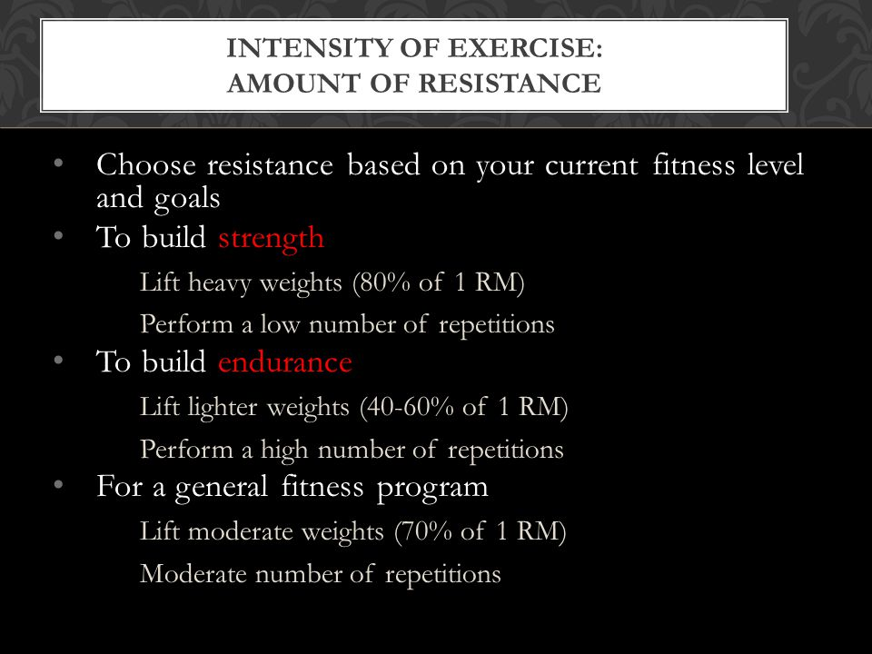 INTENSITY OF EXERCISE: AMOUNT OF RESISTANCE Choose resistance based on your current fitness level and goals To build strength Lift heavy weights (80% of 1 RM) Perform a low number of repetitions To build endurance Lift lighter weights (40-60% of 1 RM) Perform a high number of repetitions For a general fitness program Lift moderate weights (70% of 1 RM) Moderate number of repetitions