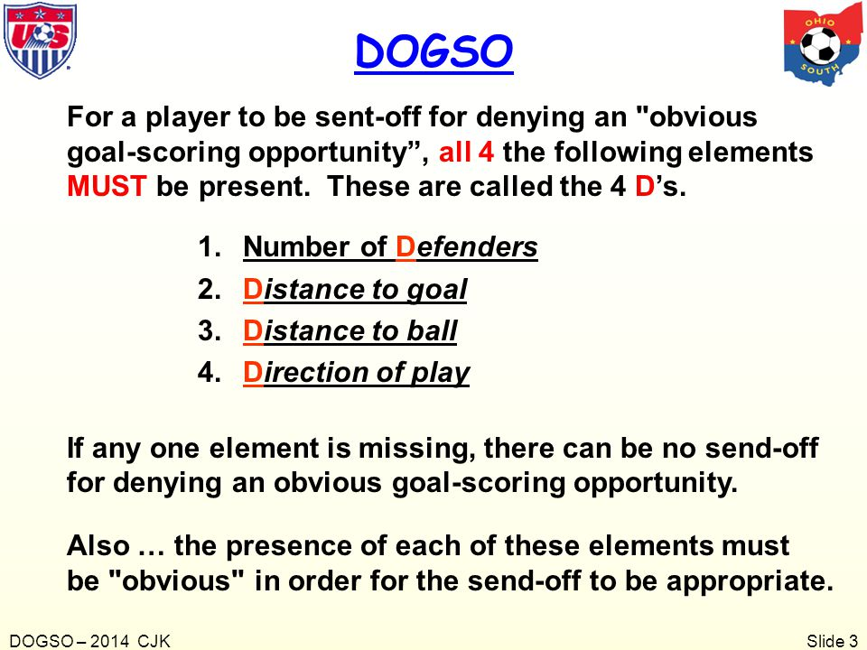 Slide 4 1.What are the 4 D's a referee must consider before deciding a DOGSO has occurred.