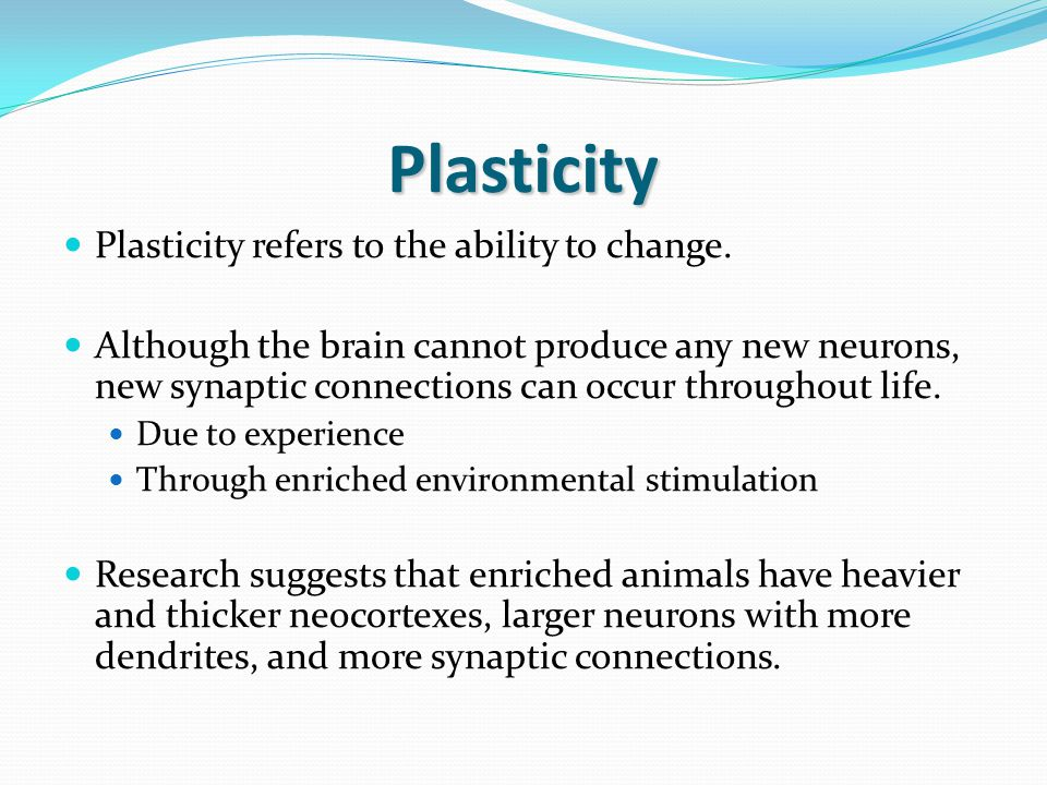 Plasticity Plasticity refers to the ability to change.