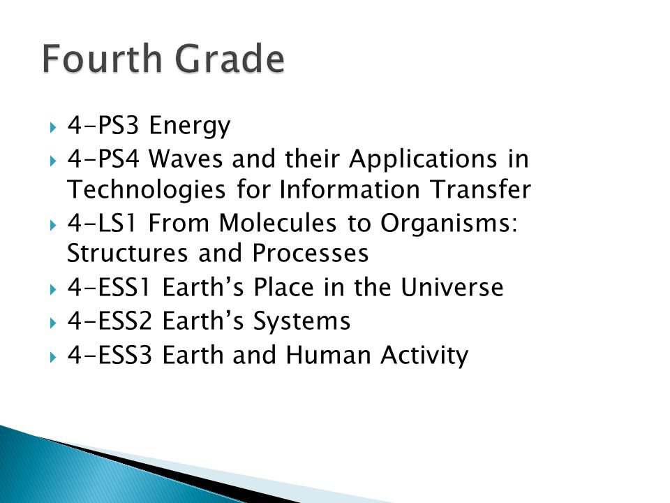  4-PS3 Energy  4-PS4 Waves and their Applications in Technologies for Information Transfer  4-LS1 From Molecules to Organisms: Structures and Processes  4-ESS1 Earth's Place in the Universe  4-ESS2 Earth's Systems  4-ESS3 Earth and Human Activity