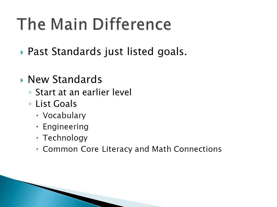  Past Standards just listed goals.