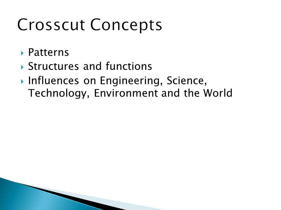  Patterns  Structures and functions  Influences on Engineering, Science, Technology, Environment and the World