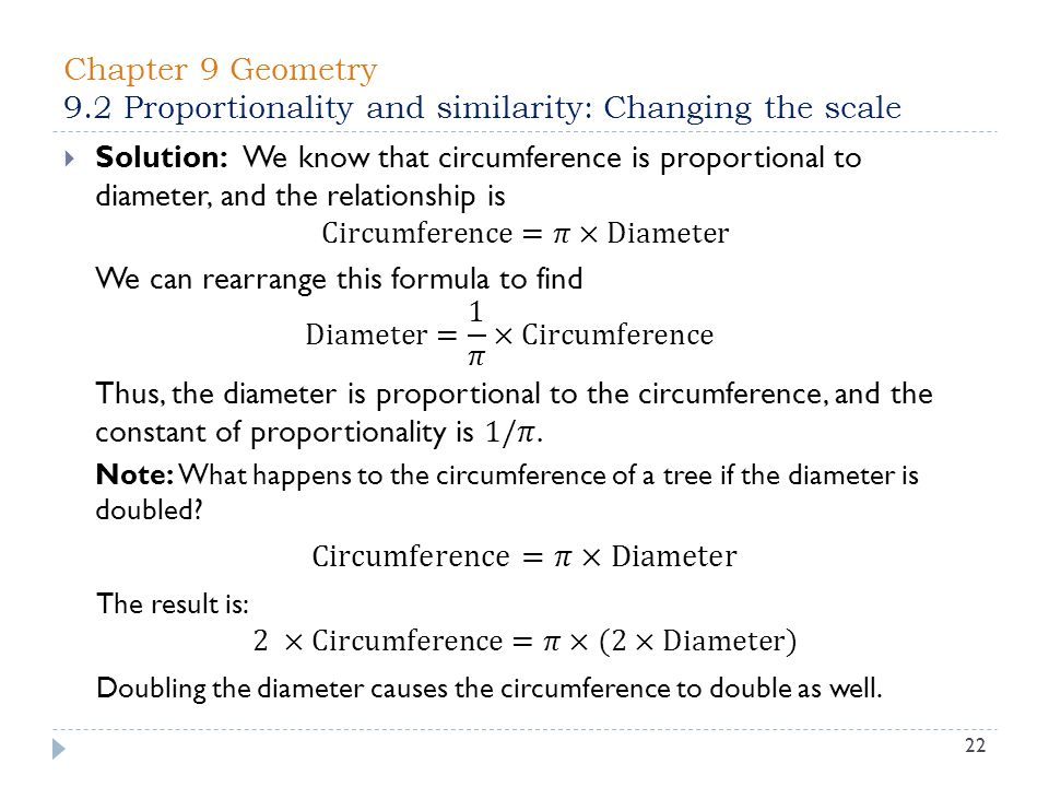 Chapter 9 Geometry 9.2 Proportionality and similarity: Changing the scale 22