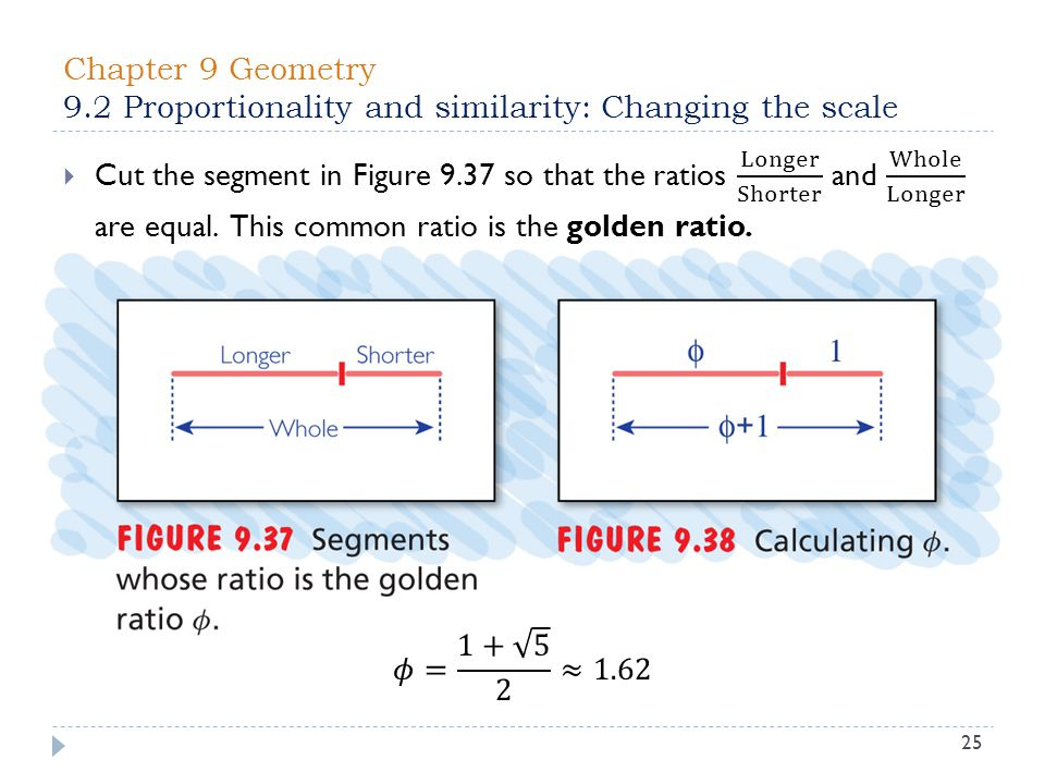 Chapter 9 Geometry 9.2 Proportionality and similarity: Changing the scale 25
