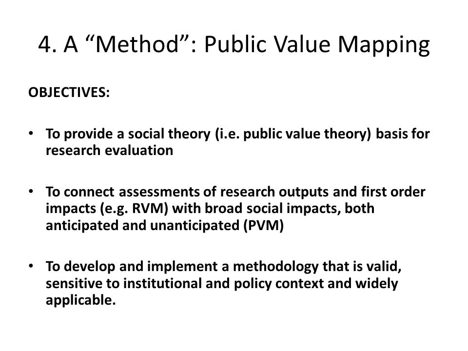 4. A Method : Public Value Mapping OBJECTIVES: To provide a social theory (i.e.