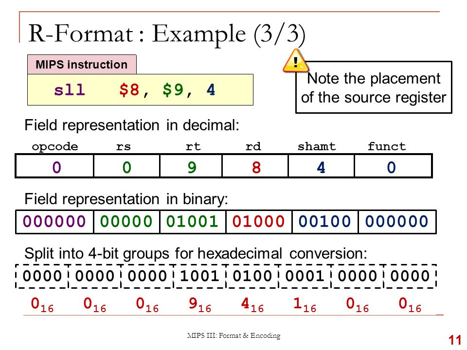 Try It Yourself #1 MIPS III: Format & Encoding 12 Field representation in decimal: opcodersrtrdshamtfunct Field representation in binary: Hexadecimal representation of instruction:  add $10, $7, $5 MIPS instruction