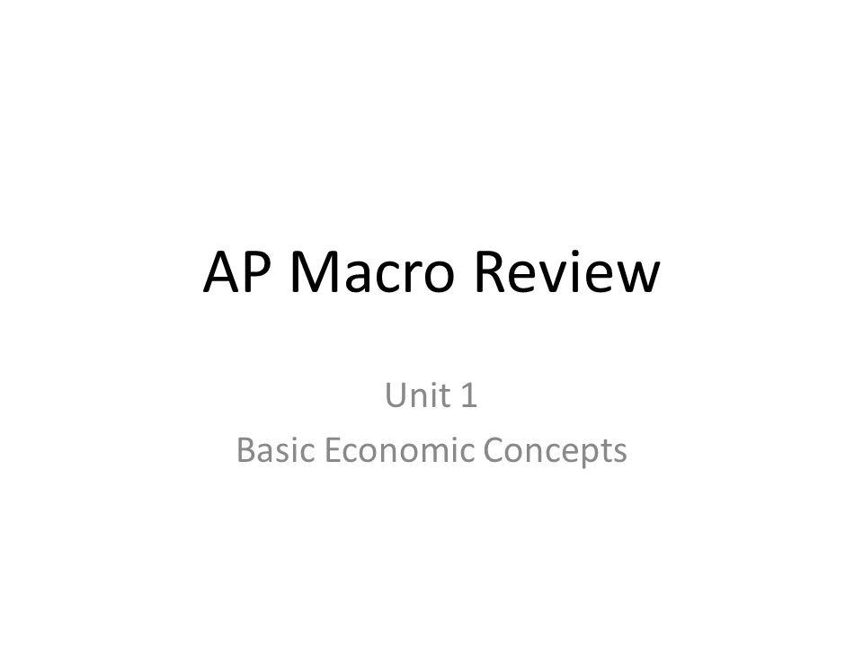 AP Macro Review Unit 1 Basic Economic Concepts