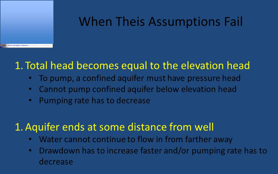 When Theis Assumptions Fail 1.Total head becomes equal to the elevation head To pump, a confined aquifer must have pressure head Cannot pump confined aquifer below elevation head Pumping rate has to decrease 1.Aquifer ends at some distance from well Water cannot continue to flow in from farther away Drawdown has to increase faster and/or pumping rate has to decrease