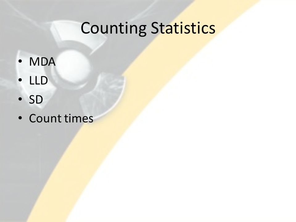 Counting Statistics MDA LLD SD Count times