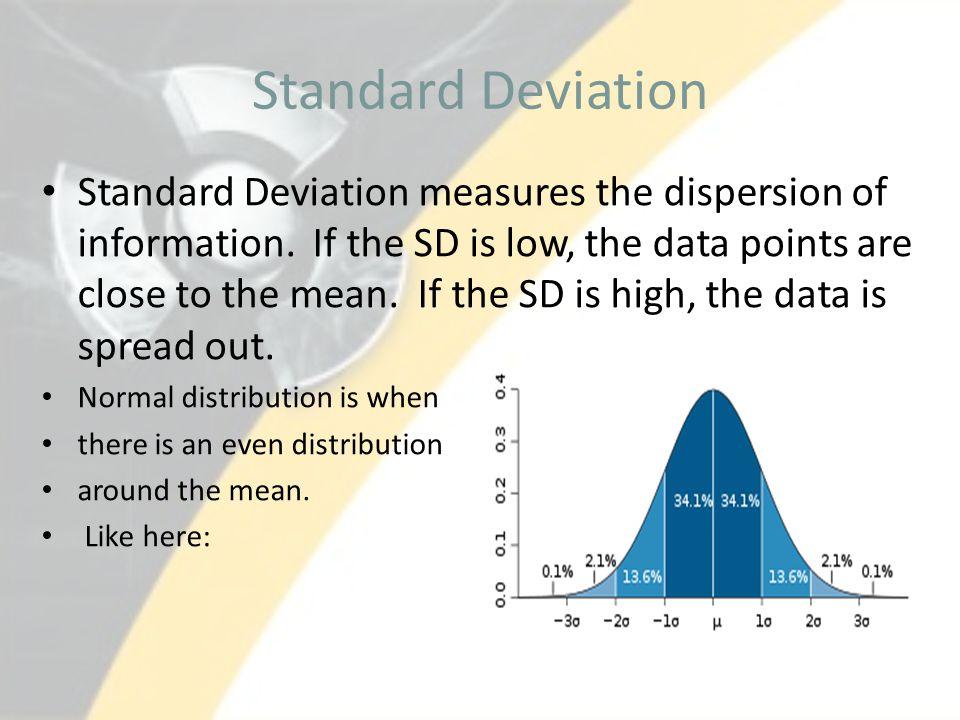 Standard Deviation Standard Deviation measures the dispersion of information.