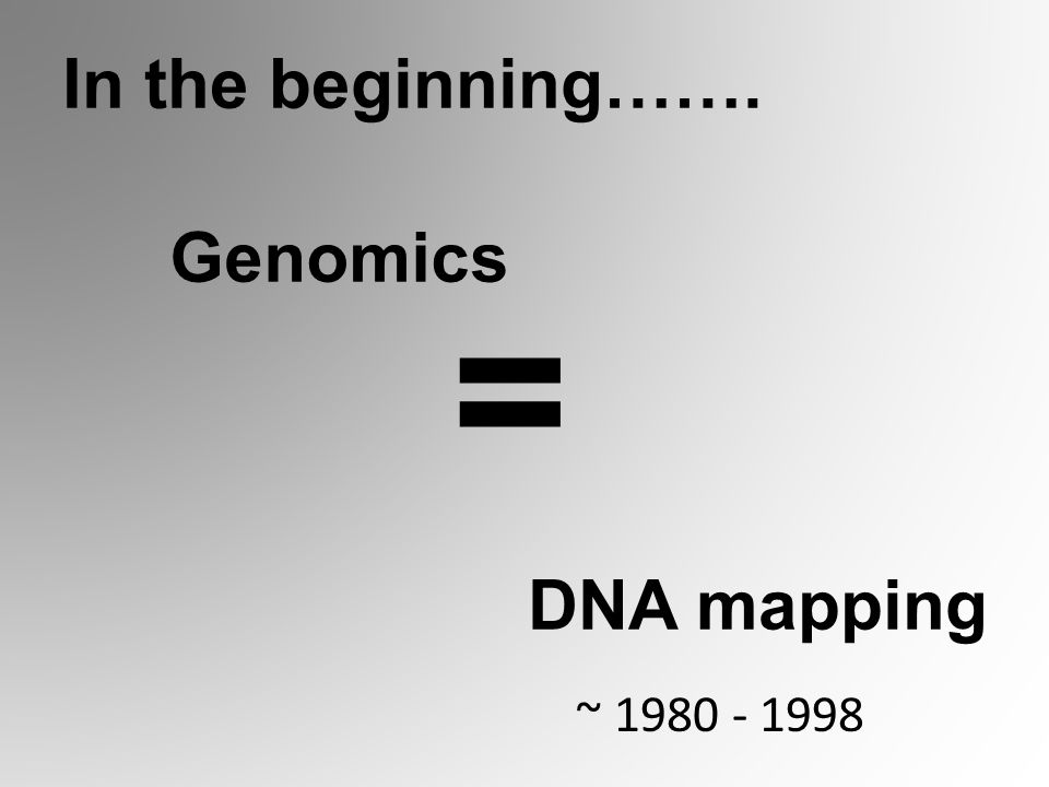 DNA mapping Genomics = In the beginning……. ~ 1980 - 1998
