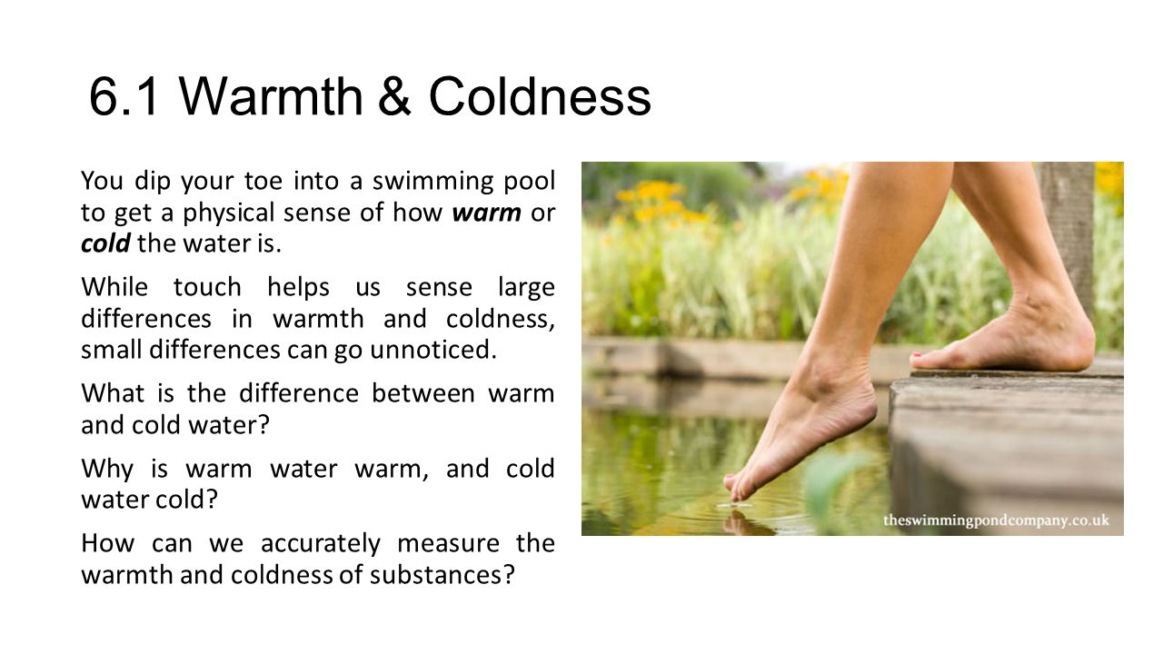 6.1 Warmth & Coldness The kinetic molecular theory is based on the idea that matter is composed of atoms and molecules that attract each other and have kinetic energy.