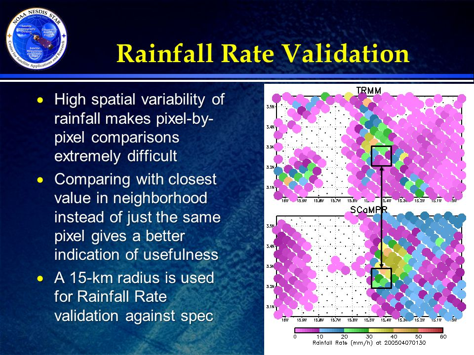 13 Rainfall Rate Validation  High spatial variability of rainfall makes pixel-by- pixel comparisons extremely difficult  Comparing with closest valu