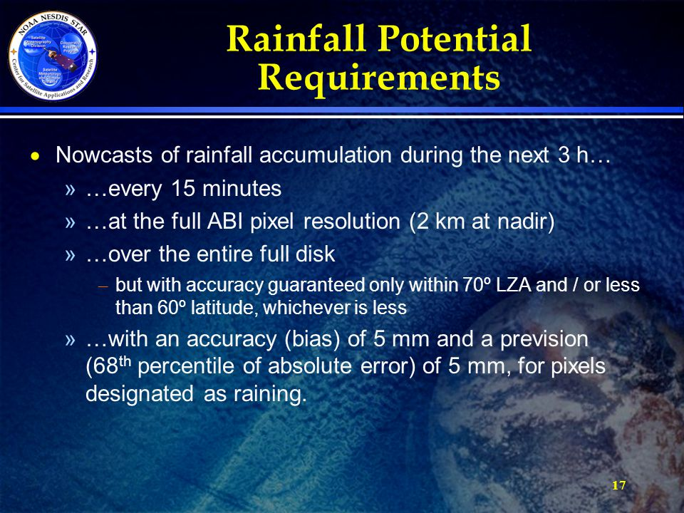 17 Rainfall Potential Requirements  Nowcasts of rainfall accumulation during the next 3 h… »…every 15 minutes »…at the full ABI pixel resolution (2 k