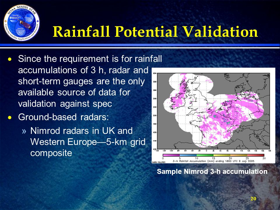Rainfall Potential Validation  Since the requirement is for rainfall accumulations of 3 h, radar and short-term gauges are the only available source