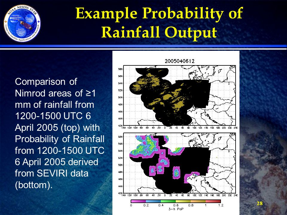 28 Comparison of Nimrod areas of ≥1 mm of rainfall from 1200-1500 UTC 6 April 2005 (top) with Probability of Rainfall from 1200-1500 UTC 6 April 2005