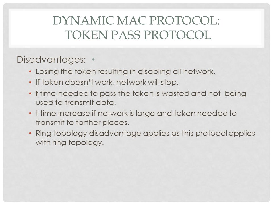 DYNAMIC MAC PROTOCOL: CONTENTION PROTOCOL Pure Aloha Multiple Access: Used in wireless LAN.