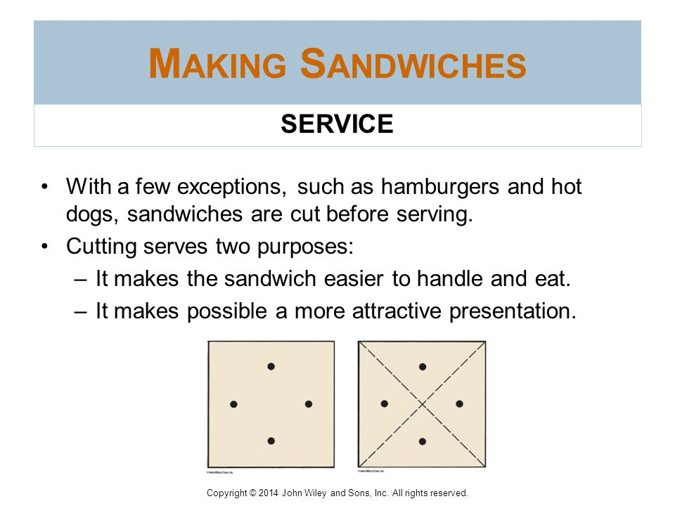 Copyright © 2014 John Wiley and Sons, Inc. All rights reserved. Equipment—The equipment needed for a sandwich station depends, of course, on the menu